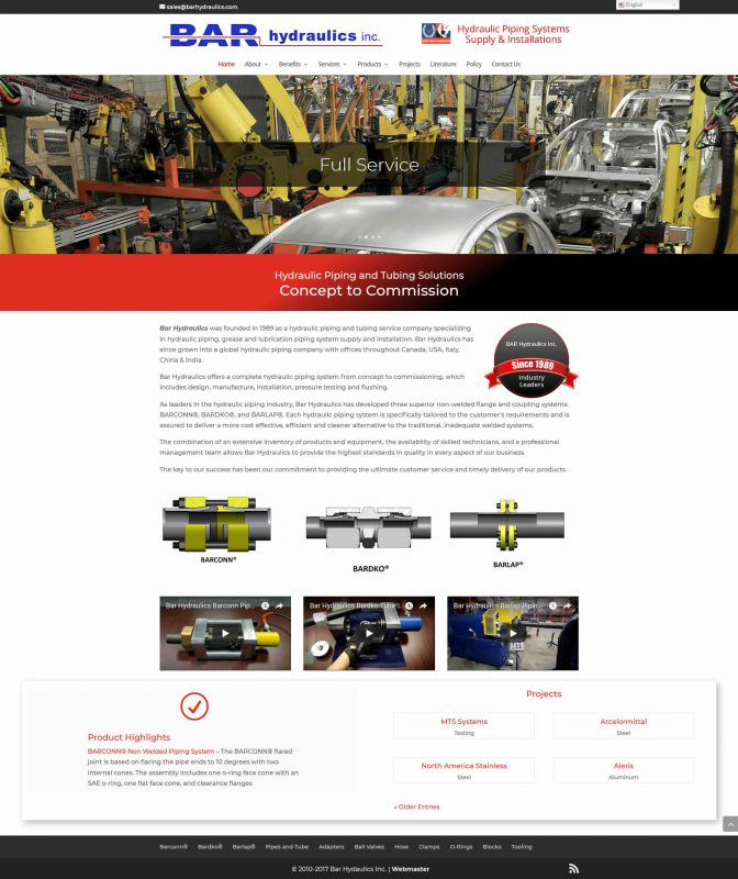 Bary Hydraulics - manufacturing and industrial website