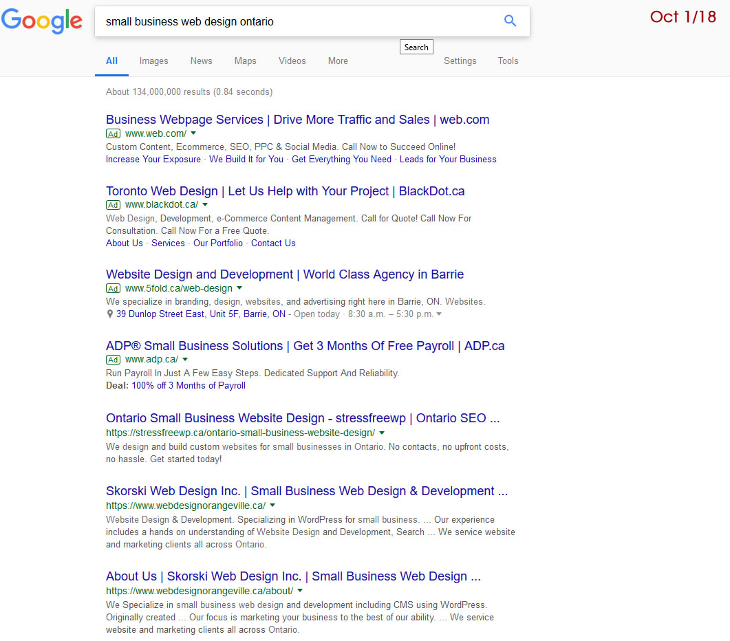 Organic search placement for website design